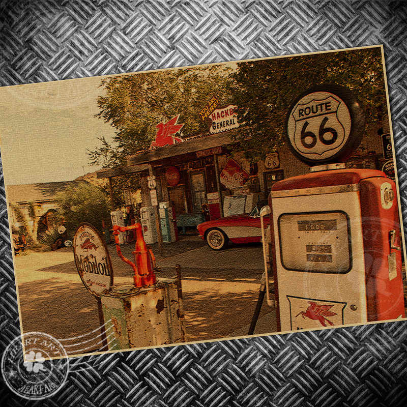 GAS station Vintage Poster ROUTE 66 USA picture retro print painting core drawing kraft paper classic wall sticker