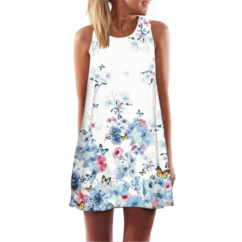 snowshine YLI Vintage Boho Women Summer Sleeveless Beach Printed Short Mini Dress free shipping