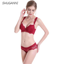 SHUGANNI Lace Bra Brief Sets Sexy Underwear Bra Sets with Padded Women Intimate Full Cup Bra Sets Push Up Bra Sets and Panties