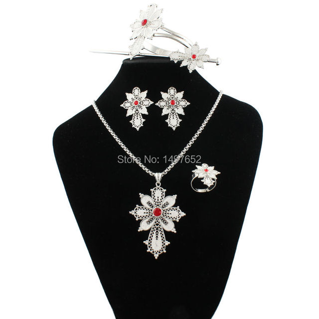 Newest Ethiopian Cross Necklace/Pendant/Bangle/Earring/Ring/Hairpin Sets Habesha Jewelry For African Women Christmas Gift