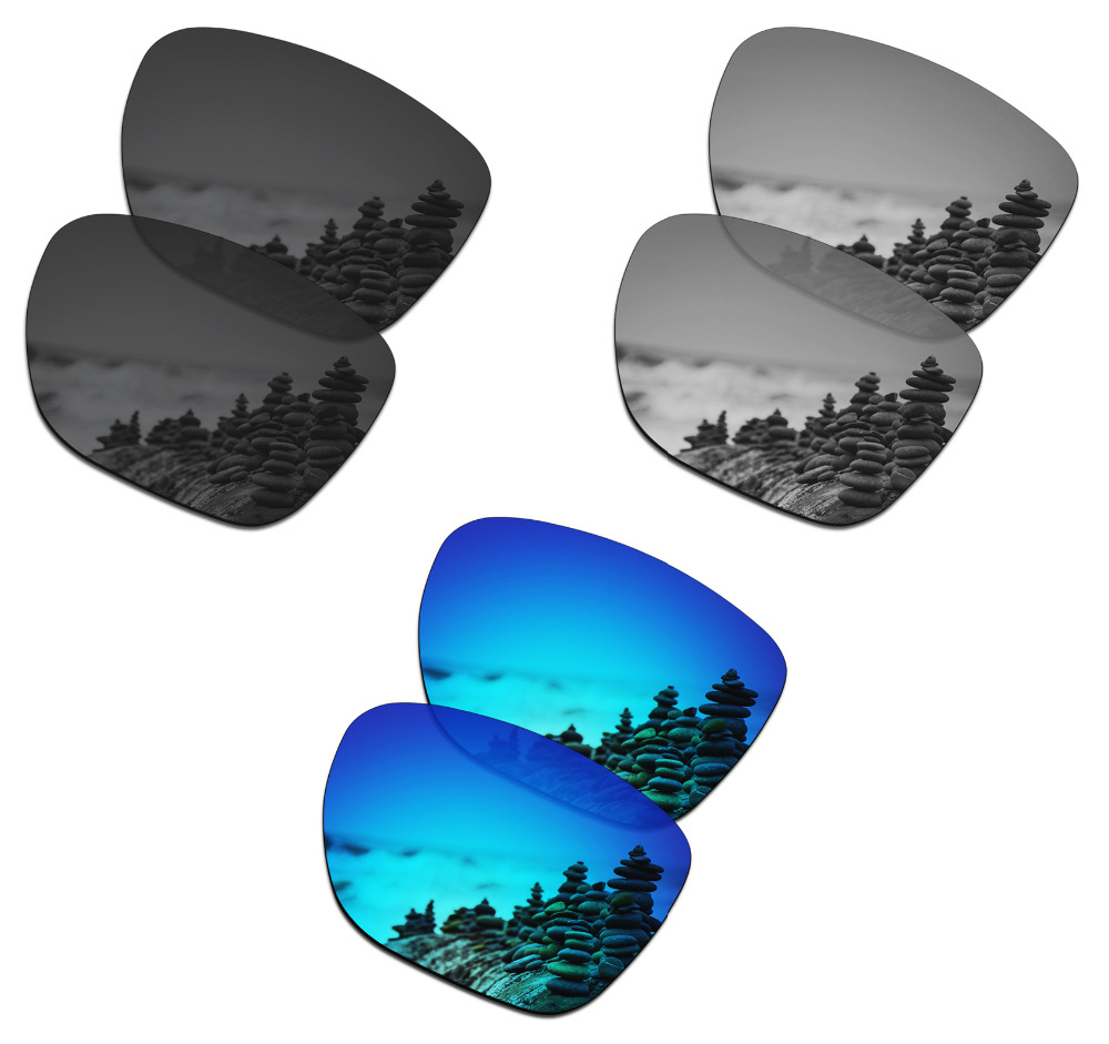SmartVLT 3 Pairs Polarized Sunglasses Replacement Lenses for Oakley Crossrange XL Black and Silver Titanium and Ice Blue