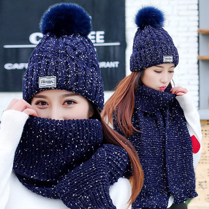 2 Pieces Hat + Scarf Sets Women Winter Long Woolen Knit Fur Scarf Hat Scarf Winter Cashmere Knitting Wool Warm Female Leisure