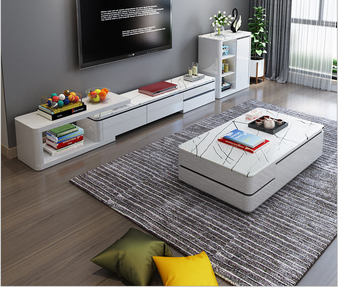 TV Stand Table Living Room Home Furniture Modern Style Fashionable Paint Wooden Leather TV Unit And Cabinet + Coffee Table