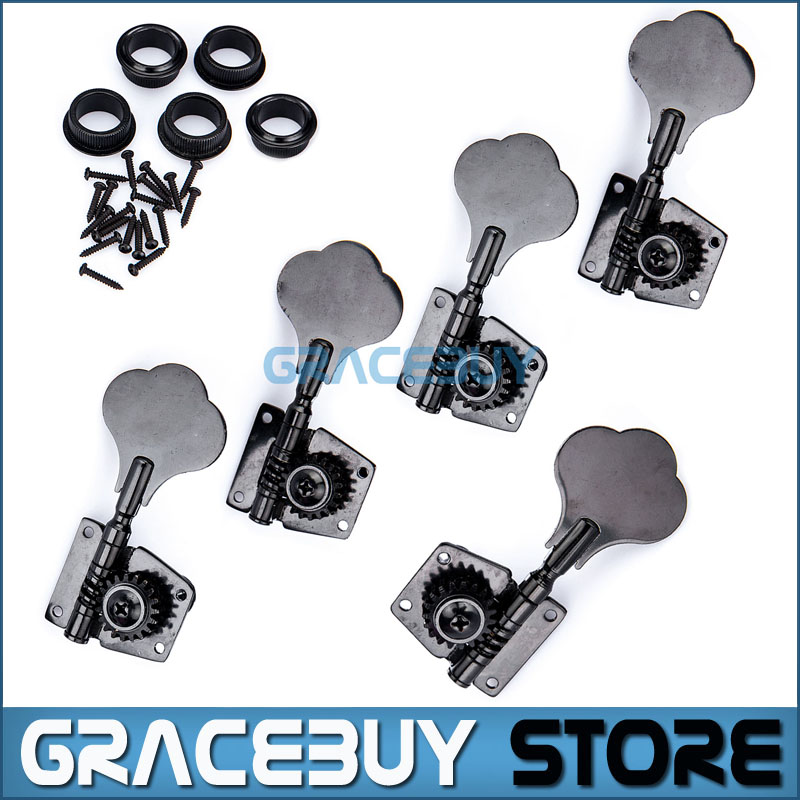 5 Strings Bass Guitar Tuning Pegs Keys Tuners 4R 1L Black Machine Head Knobs New купить