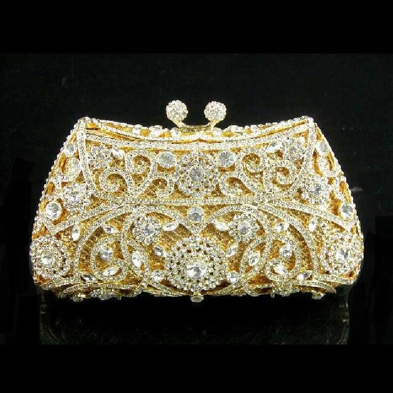 ФОТО #8131 Crystal Flower Floral Wedding Bridal Party Night Golden hollow Metal Evening purse clutch bag case box handbag