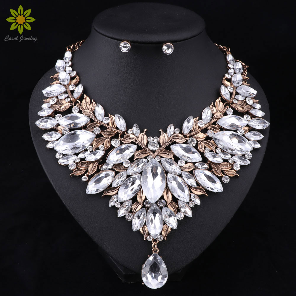 Retro Style Nigerian Wedding African Beads Jewelry Sets White Crystal Necklace Earrings Set Party Wedding Dubai Jewelry Set