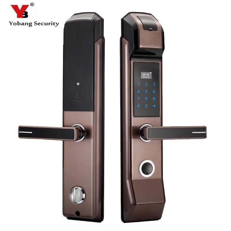 Yobang sécurité Smart empreinte digitale serrure de porte sans clé déverrouiller par empreinte digitale + mot de passe + carte IC + clé mécanique 4 voies de déverrouillage