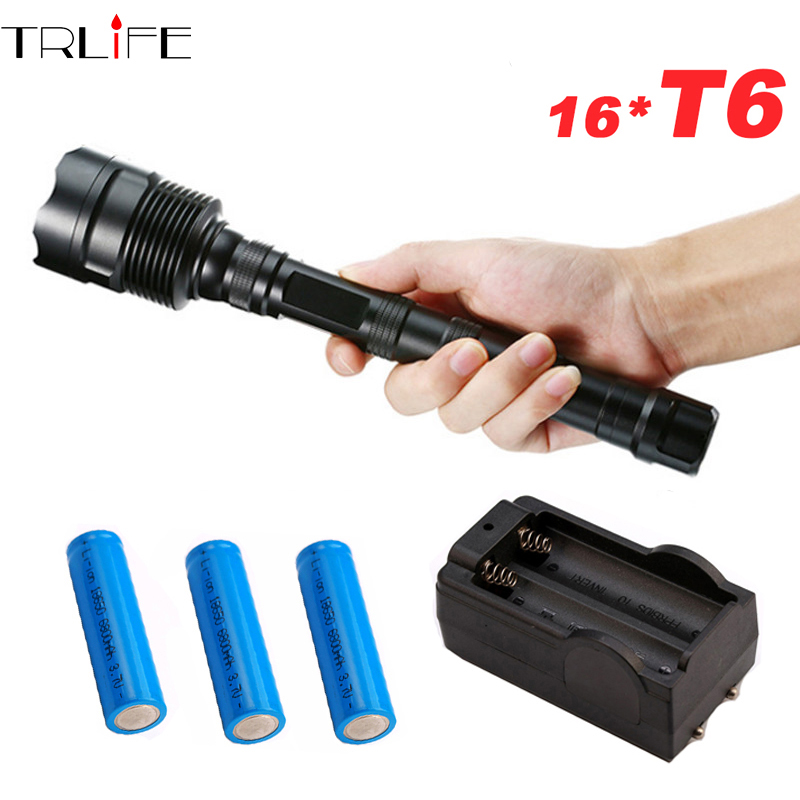 Tactical 40000LM 5-Mode T6LED Police Flashlight Zoomable Torch+18650+Charge UK