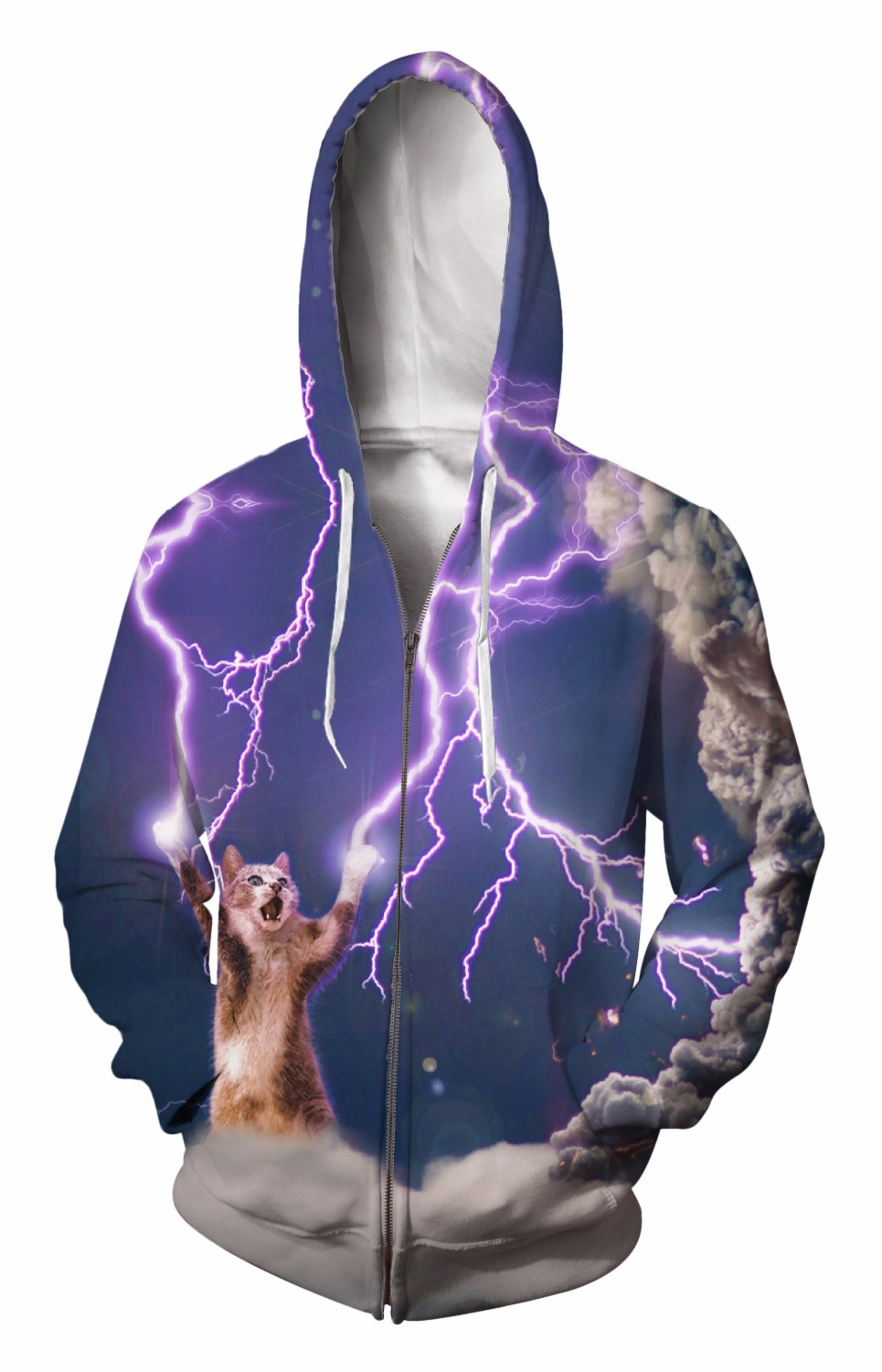 Zip-Up Hoodie 3d Print Soft Lightning cat Clothing Women Men Tops Hooded Casual Zipper Sweatshirts Outfits Coats Sweat factory