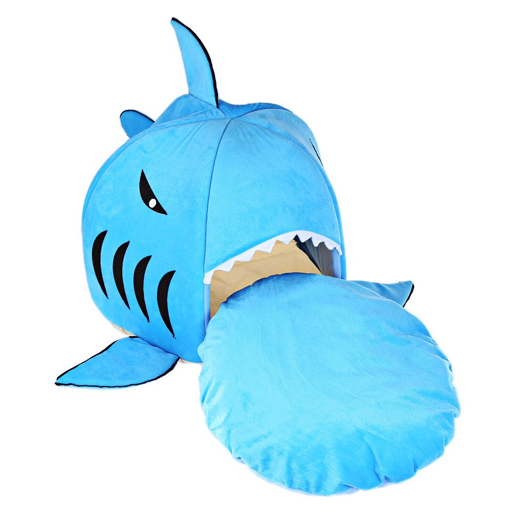 Bed Soft Dog Bed Bule Grey Cartoon Shark Pet Bed For Pets Washable Dog ...