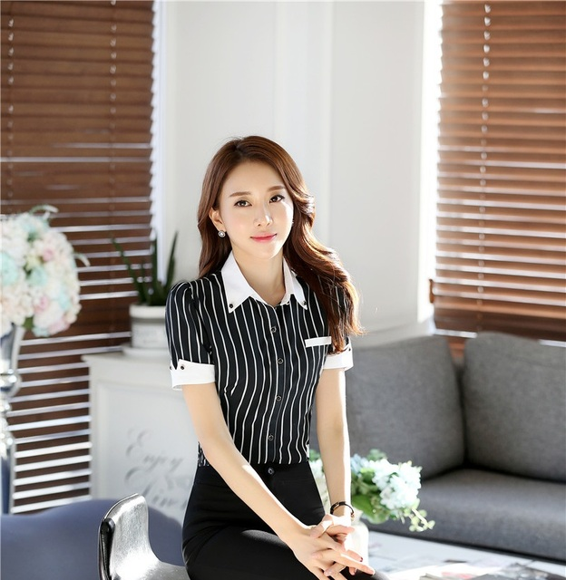 9615b532e65f69 New 2016 Summer Fashion Striped Formal Uniform Style Short Sleeve Blouses   Shirts  Ladies Office Professional