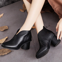 Genuine leather shoes thick heels high heels comfortable minimalist square toe retro ankle boots 2016 new winter women's boots