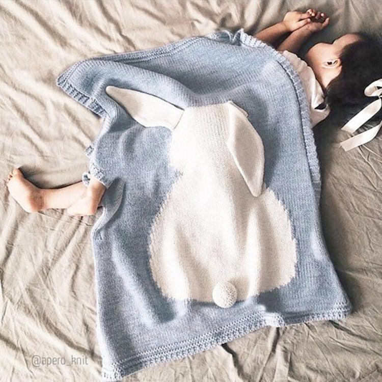 New Baby Child Knitted Throw Blanket solid rabbit cartoon blanket throw Home Cover beach travel bed sofa Use wholesale FG616