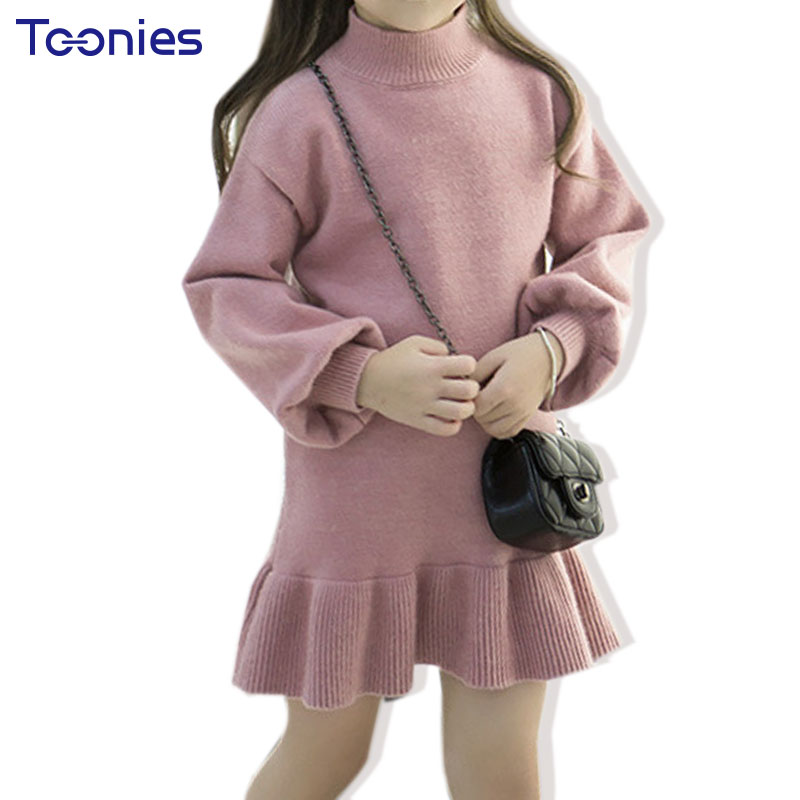 Winter Turtle Neck Knitted Sweater Dresses for Girls Long Sleeve Kids Girl Pincess Party Christmas Dress Ruffle Children Clothes