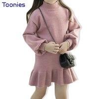 Zima Żółw Szyi Sweter Z Dzianiny Sukienki dla Dziewczynek Z Długim Rękawem Dla Dzieci Dziewczyna Pincess Party Dress Ruffle Dzieci Ubrania
