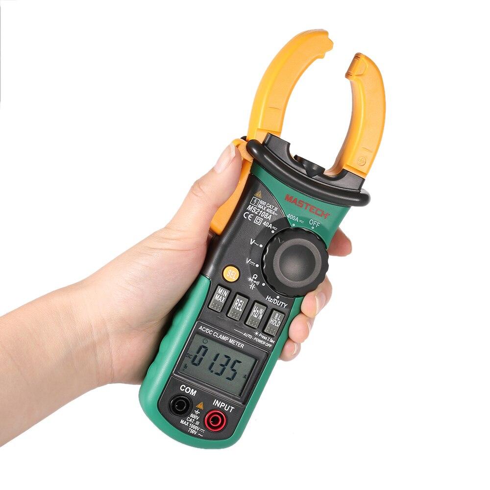 Mastech MS2108A pince numérique multimètre fréquence Max./Min. Mesure de la valeur tenant éclairage ampoule sac de transport