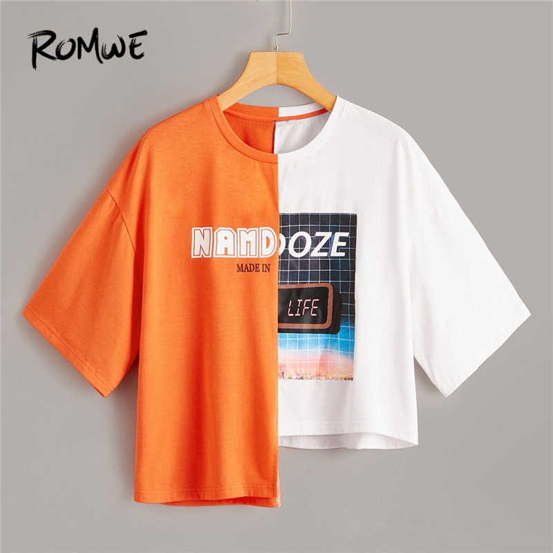 ROMWE Colorblock Letter Plaid Mixed Print Two Tone Asymmetrical Neon Tee Women Summer Short Sleeve Casual Edgy T Shirts Tops