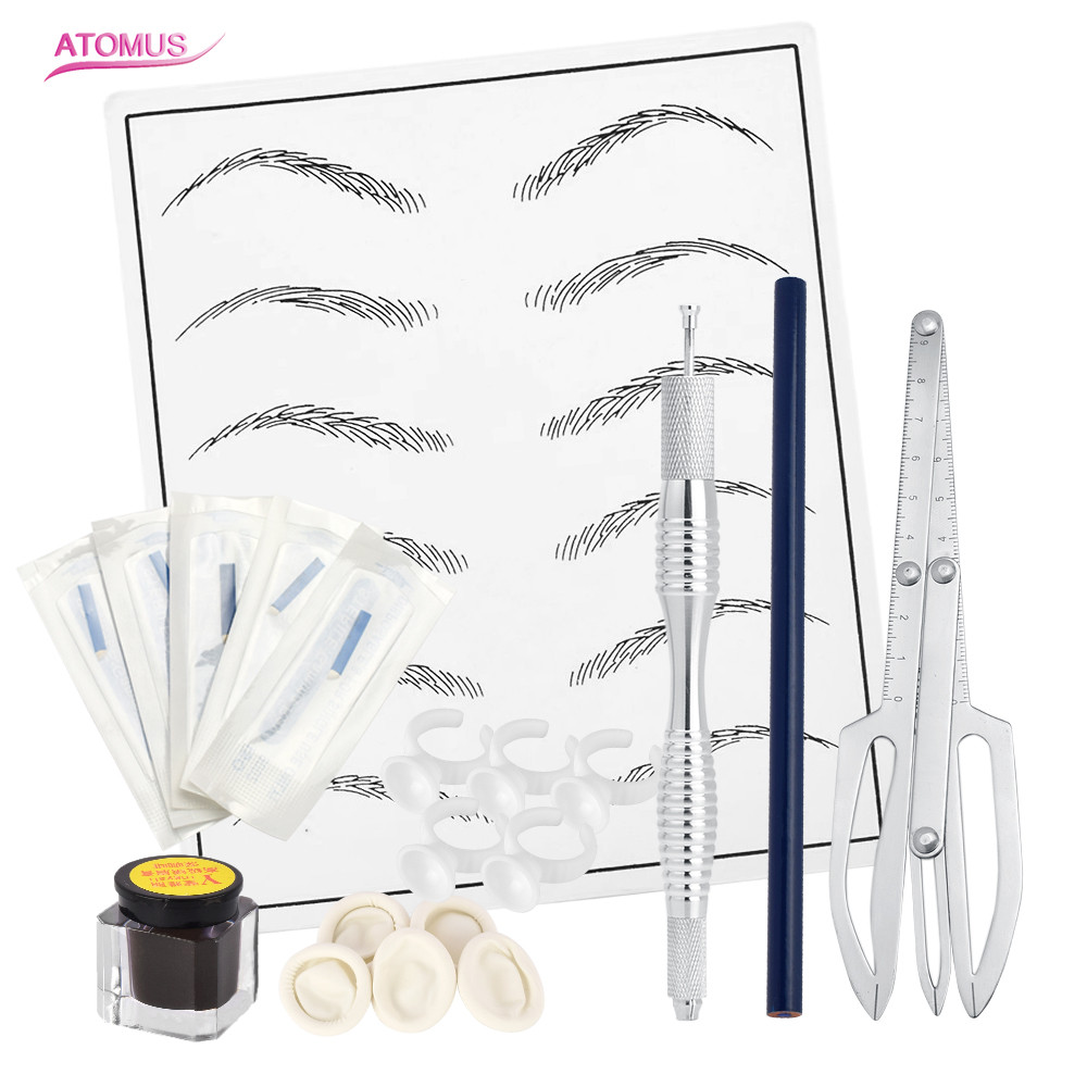 Microblading Tebori Makeup Tattoo Kits Manual Pen Eyebrow Practice Pigment Set With Eyebrow positioning Needle Blade Ink Ring цена