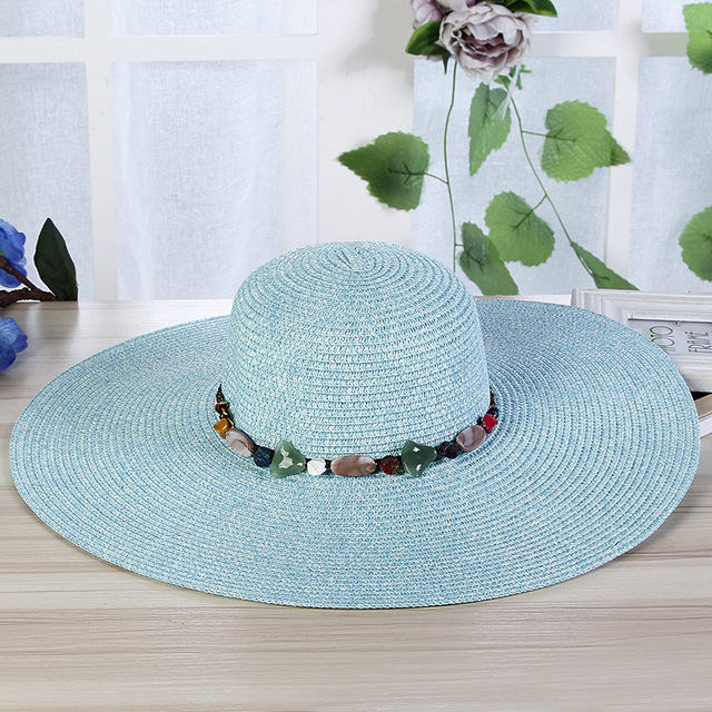 eb522a138ee 2018 New Hot Wide Large Brim Sun Hats For Women Hand Made Colorful Stones  Straw Hat