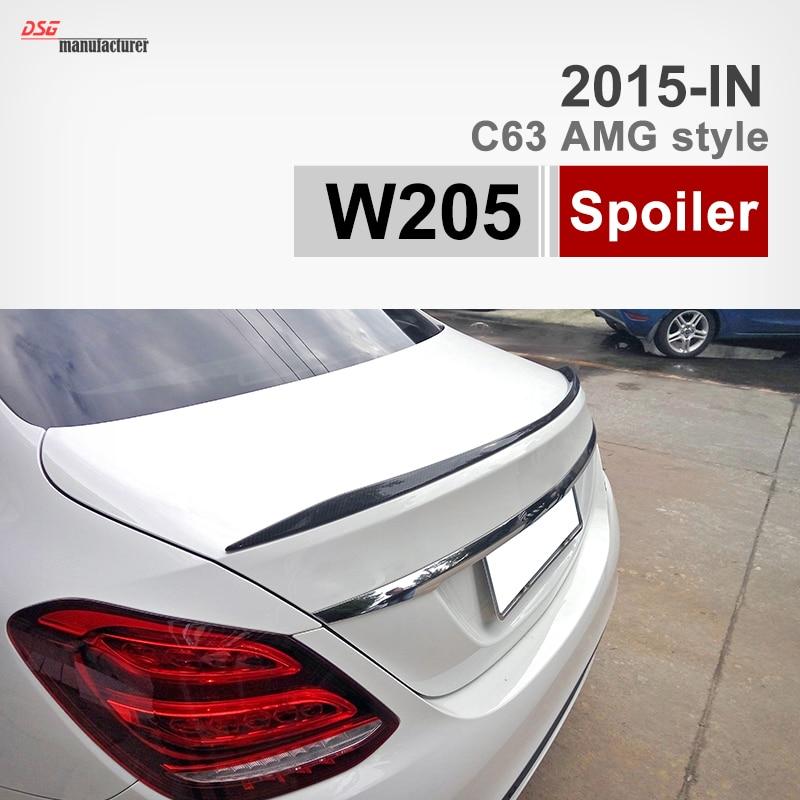 Carbon Fiber Rear Trunk Spoiler Wing For Mercedes C63 C Class W205 Saloon C200 C250 C300 C350 C400 C220 Sedan for mercedes w213 spoiler e class 4 door sedan e200 e220 e250 e300 carbon fiber rear trunk spoiler wings e63 style 2016 up