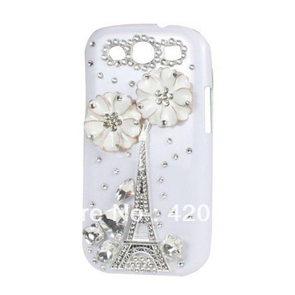 New Bling Crystal Diamond Paris Eiffel Tower Daisy Case Cover for Samsung Galaxy S3 i9300 (White)