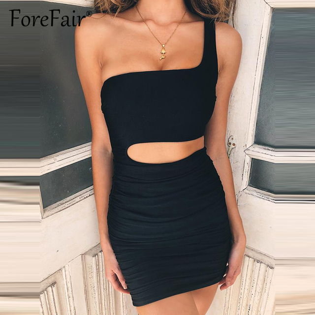 5da66769775 Forefair New Ruched Mini Bodycon Dress Summer Women Backless Mini Party Dresses  2018 One Shoulder Sleeveless Sexy Dress