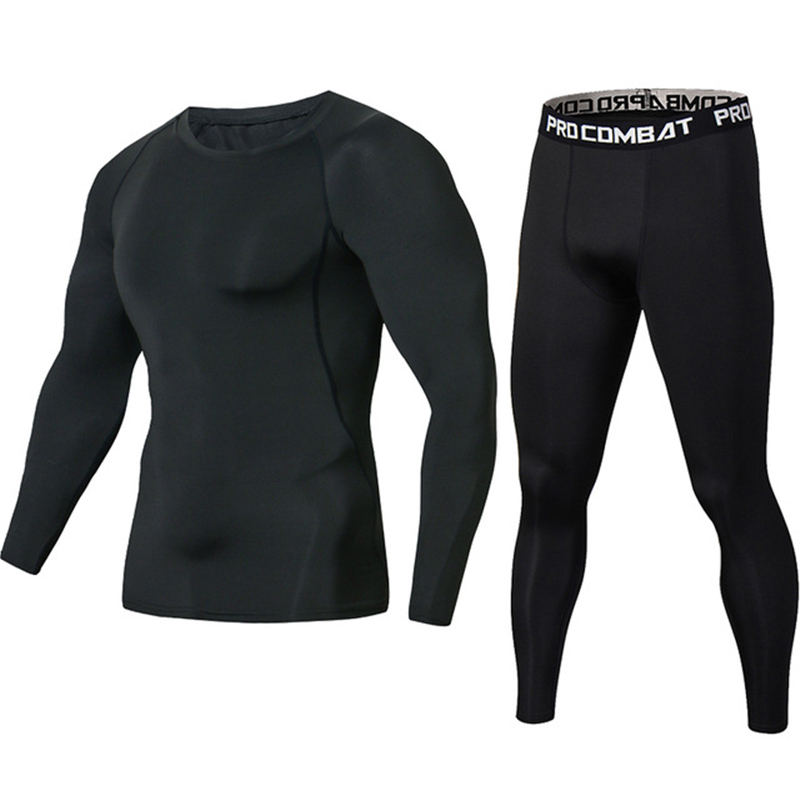 New Black Mens Tracksuit Brand Men T-shirt Rashgard MMA Set Men Compression Sportwear T Shirt Men Crossfit G ym Fitness Clothing