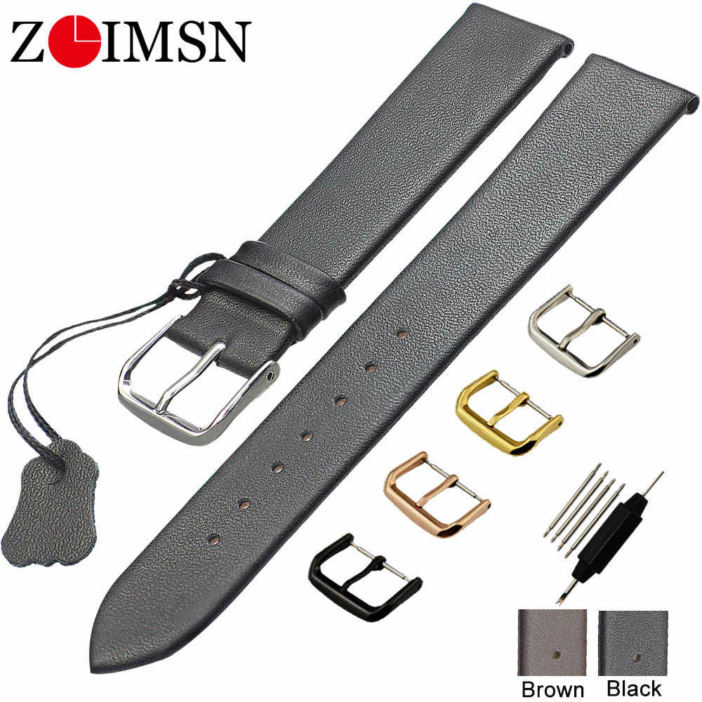 ZLIMSN Genuine Leather Watchbands 18 20 22mm Thin Smooth Watch Strap Belt For DW Watches Stainless Steel Buckle