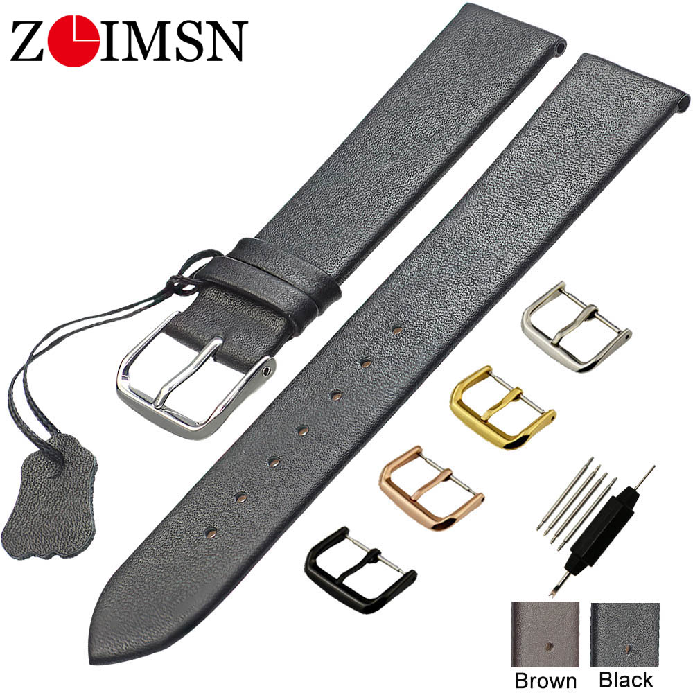 ZLIMSN Genuine Leather Watchbands 18 20 22mm Thin Smooth Watch Strap Belt For DW Watches Stainless Steel Buckle