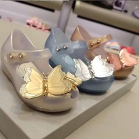 Mini Melissa Shoes 2019 New Original Girl Jelly Sandals butterfly Kids Sandals Children Beach Shoes Non slip Toddler Shoes