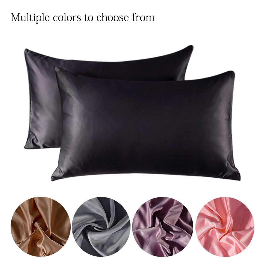 100% Silky Satin Hair Beauty Pillowcase,Standard Queen 2PC Pillow Case Home Square Pillow Case Decorative Pillowcases 20x30 Inch