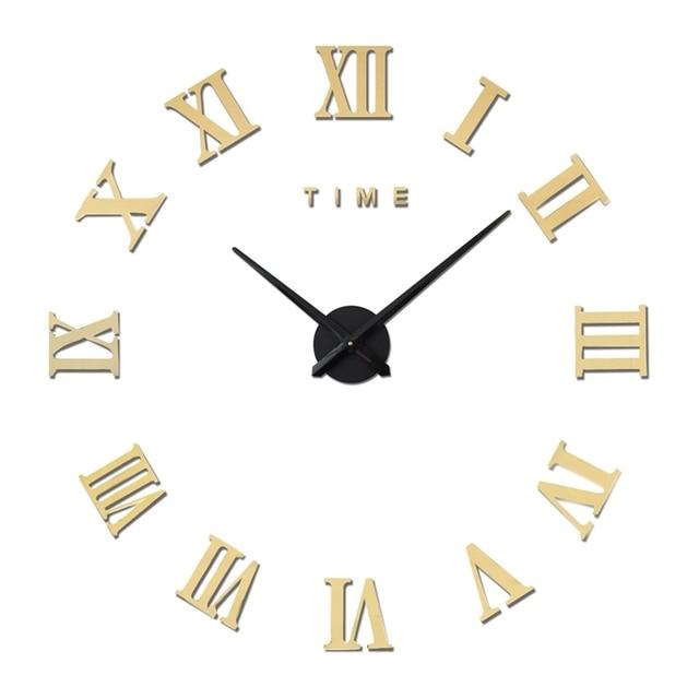 Angka Romawi Skala besar 3D DIY Jam Dinding Desain Modern Cermin Jam Dinding  Stiker Dekorasi Rumah 85f452bec1