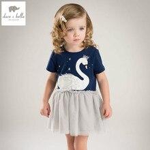 ea630334a DB4822 ديف بيلا الصيف الطفل بنات اللباس ملابس الرضع دارى ثوب طفل جميل سوان  فستان طفل