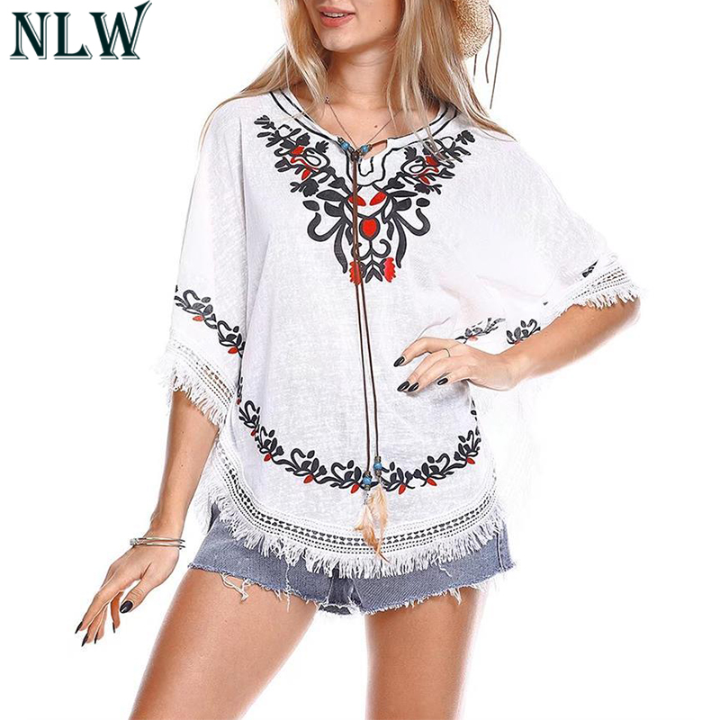 NLW Boho Print Summer Blouse Shirt Ethnic Batwaing Sleeve Top 2018 Women Casual Blouse Top O Neck Bead Feather Decorate Chic Top