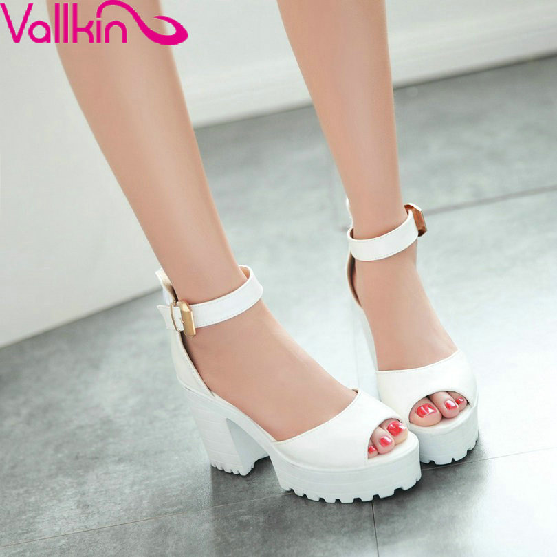 VALLKIN  New Sandals Squre High Heel Fashion Zip Soft Peep Toe Summer Autumn Women Shoes Buckle Size 34-43 Woman Pumps от Aliexpress INT