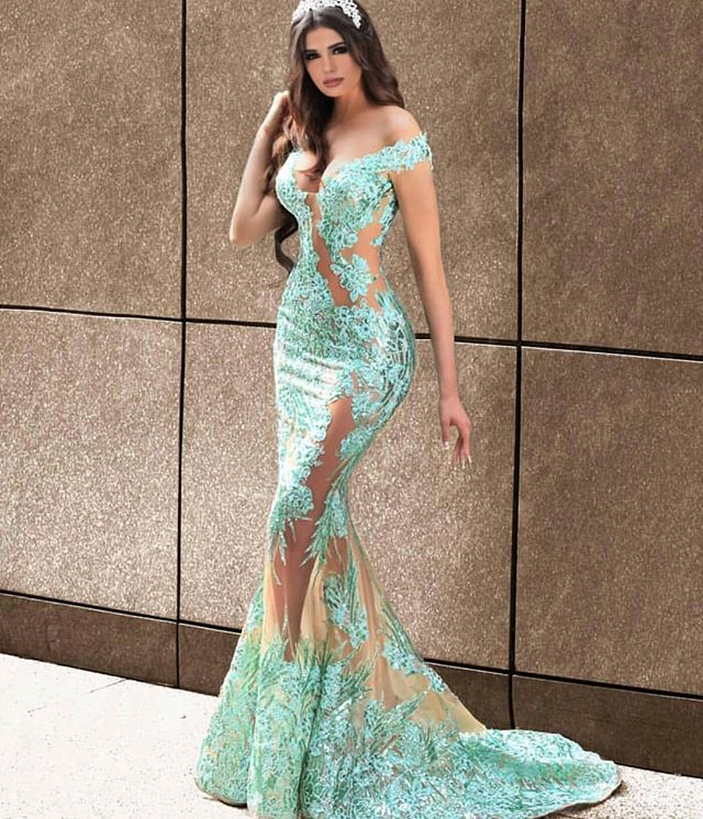 Mint Green New Arrival Mermaid Evening Dress Tulle Prom Dresses 2019 V-Neck Cap Sleeve Floor Length Appliques  Robe De Mariee