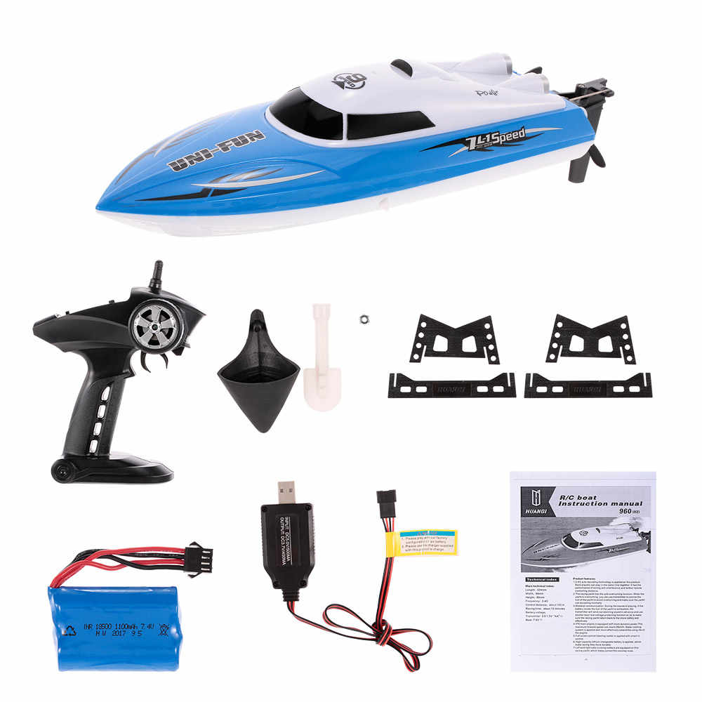 Negro Goolsky Barcos RC para ni/ños Adultos 25 km h Barco de Carreras de Alta Velocidad 2 Canales Barcos de Control Remoto para Piscinas Barco de Carreras