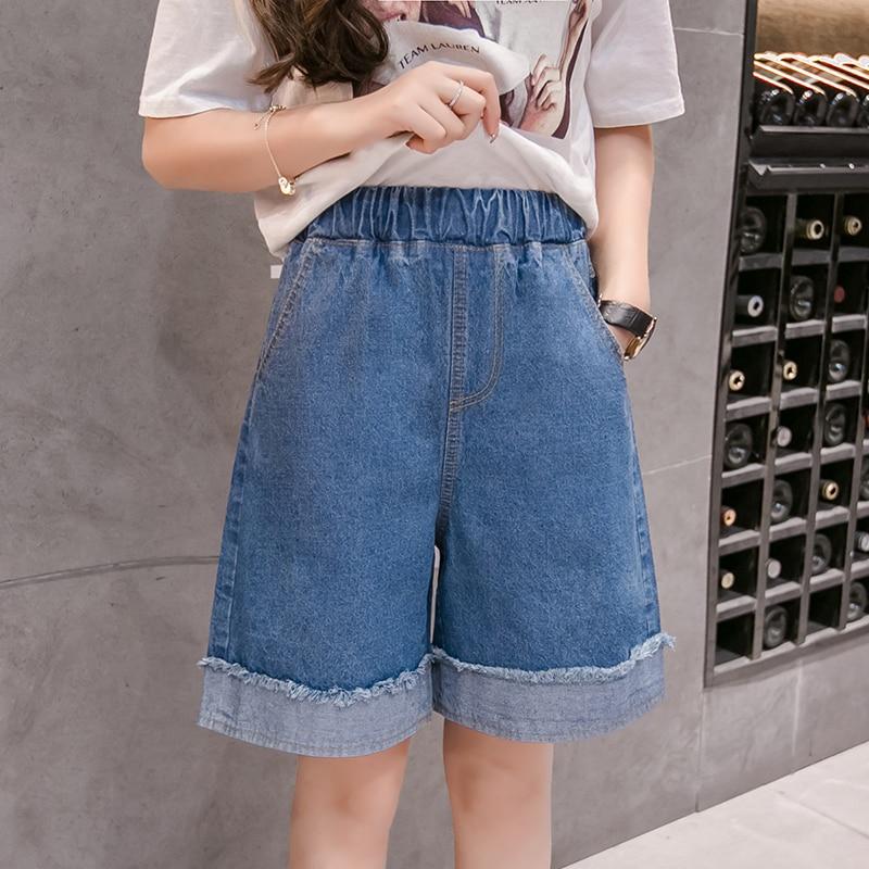 5XL Wide Cuff Denim Vintage Shorts Light Blue Solid Fashion Elastic Waist Simple New Arrival Loose Casual Female Half Shorts