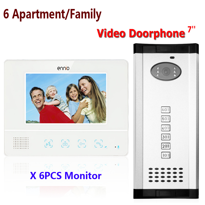 Fast shipping 7'' wired color video Intercom System 1 Doorbell Camera+6 Waterproof Monitors For 6 Apartments/Family 811WMH16 rfid keyboard ip65 waterproof video doorphone intercom system for 3 apartments with 7 color lcd video intercom system in stock