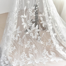 125cm*1yard embroidered lace appliques for wedding dress Large floral lace applique patch accessories for bridesmaid