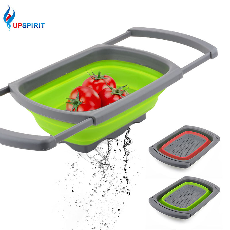 Upspirit Collapsible Colander Silicone Fruit Vegetable Draining Basket Folding Kitchen Strainer Filter with Retractable Handle