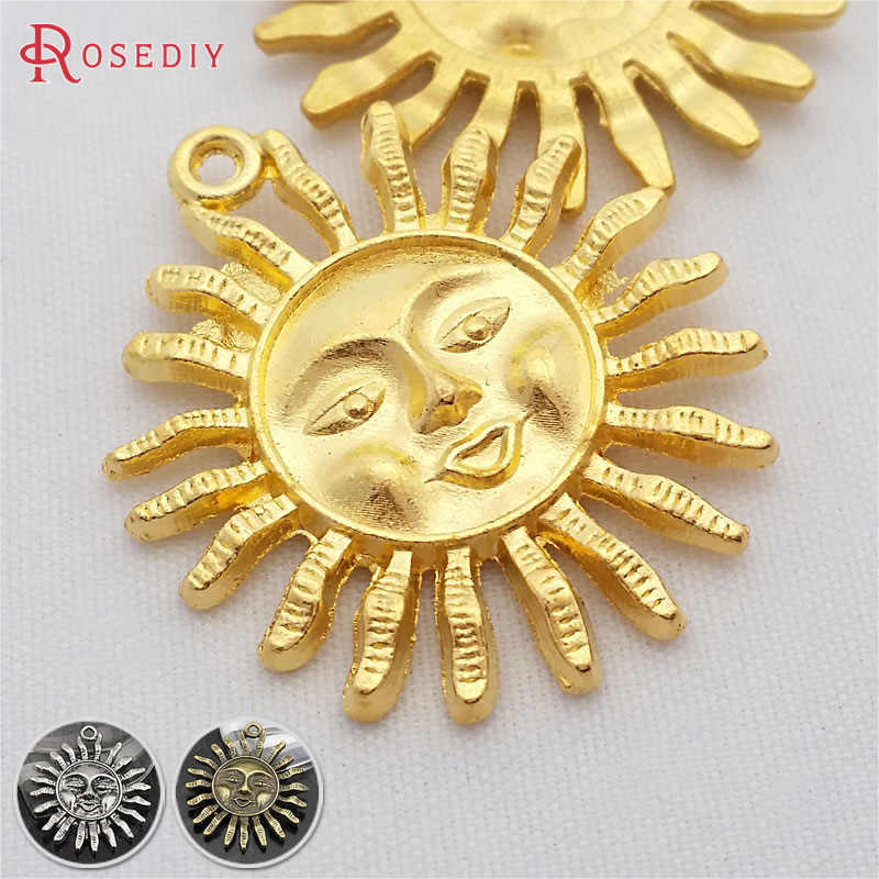 (29204)10PCS 30MM Gold Color Zinc Alloy Sun Pendants Diy Jewelry Findings Necklace Accessories Wholesale