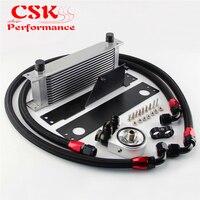13 Row AN10 Racing Engine Oil Cooler Kit Fits For 01 05 Subaru Impreza WRX/STi Black / Silver