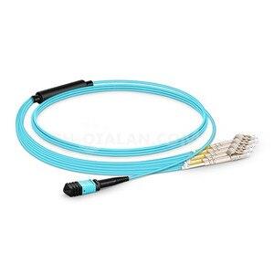Image 2 - 1 m Cavo Patch MPO MTP OM3 Femmina a 6 LC UPC Duplex 12 Fiber Patch cord 12 Core Ponticello OM3 Breakout Cavo, tipo A, di Tipo B,