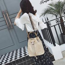 Women Straw Hand Woven Shoulder Bag Fashion Bamboo Handbag Tote Bucket Bag Shape Fashion Beach Summer Crossbody Messenger Bags