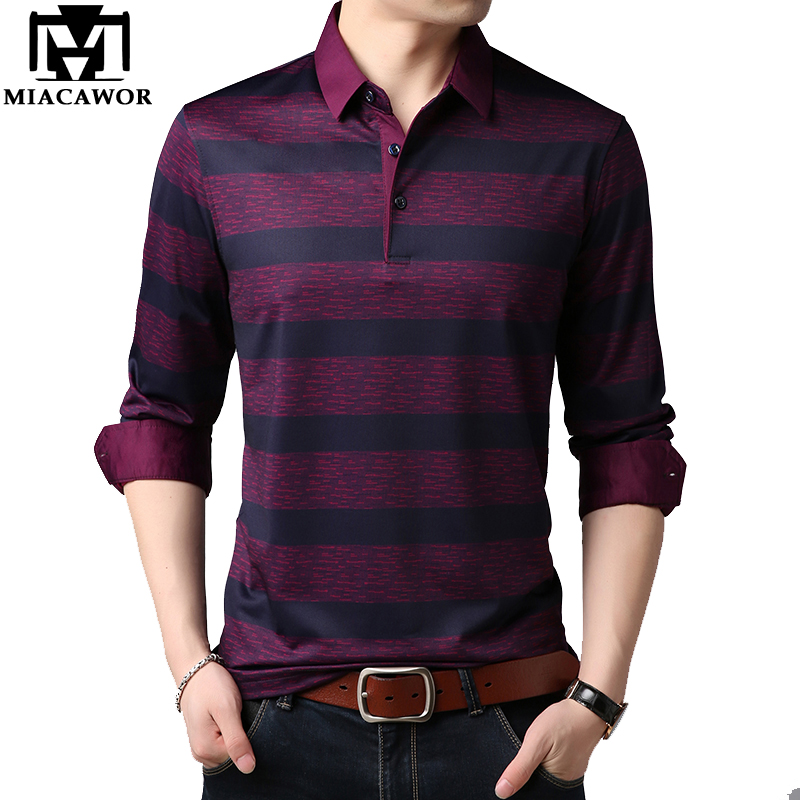 MIACAWOR New Brand Men Polo Shirt Top Quality Striped Camisa Polo Masculina Spring Full sleeve Mens Polo Tops Tees T677