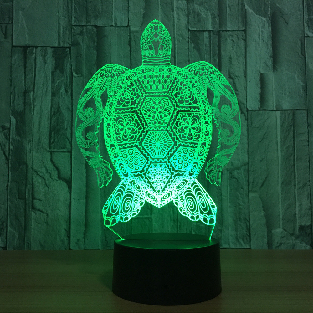 Bedroom Decor Visual 3D LED Strong Sea Turtle Pattern Table Lamp USB 7 Colors Changing Baby Sleeping Night Lights Birthday Gifts