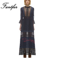 Self Portrait Runway Lace Dress Women Retro Flare Sleeve Daisy Lace Hollow Out Embroidery Maxi Long