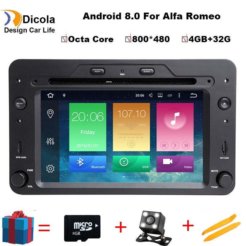 Octa Core 4G + 32G ROM Android 8.0 dvd de voiture GPS pour Alfa Romeo 159 Sportwagon Araignée Brera avec BT Wifi Radio; soutien 4G DVR DAB +