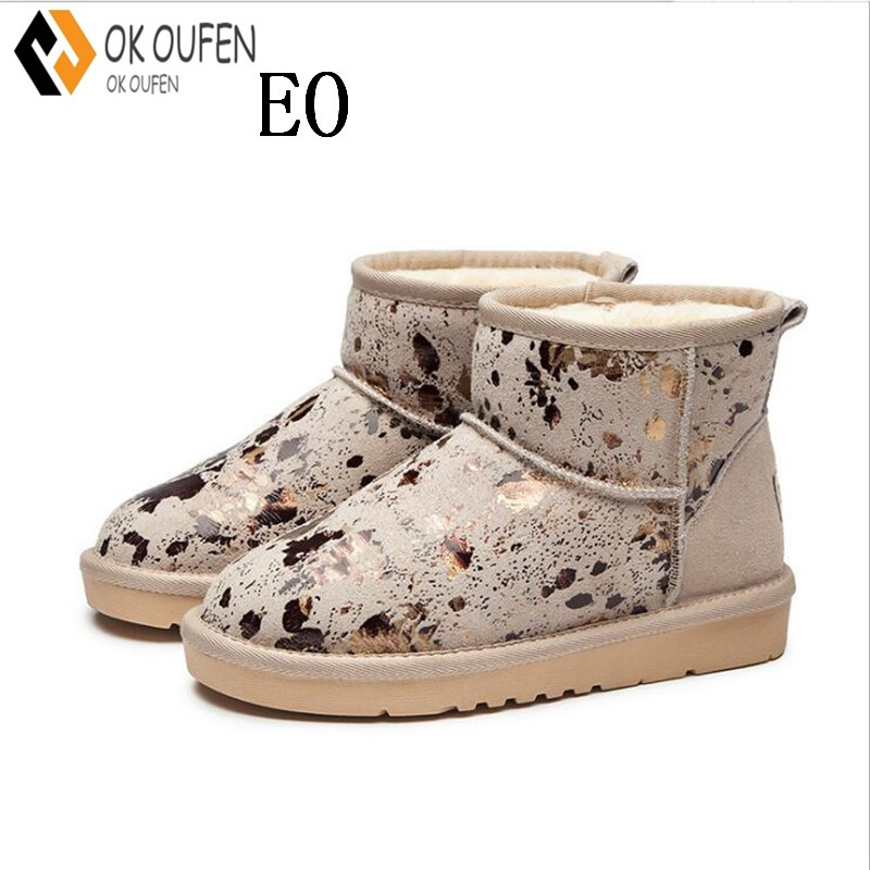 OKOUFEN Women Snow boots New UGS Fashion Quality Genuine Suede Leather Australia Classic Warm Winter shoes Snow Boots